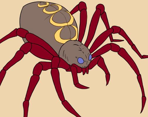 蜘蛛(クモ)のイラスト、色つけ