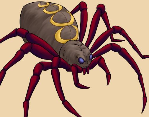 蜘蛛(クモ)のイラスト、濃い色