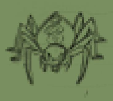 蜘蛛(クモ)のキャラチップ、歩行グラ下絵