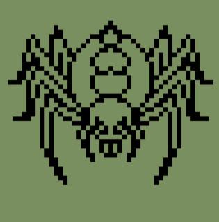 蜘蛛(クモ)のキャラチップ、歩行グラ線画
