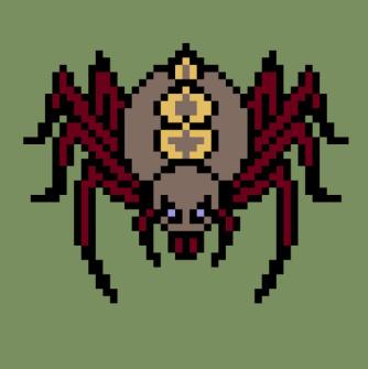 蜘蛛(クモ)のキャラチップ、歩行グラ色つけ