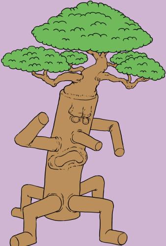 木のモンスター、トレント、木人、イラスト色つけ