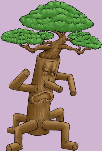 木のモンスター、トレント、木人、イラスト色つけ3