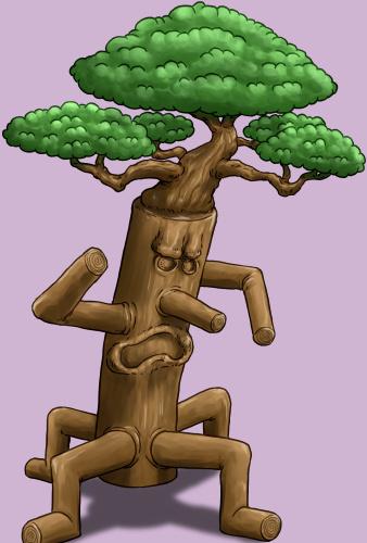 木のモンスター、トレント、木人、イラスト完成