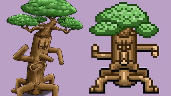 木のモンスター、トレント、木人、歩行グラ、サムネイル