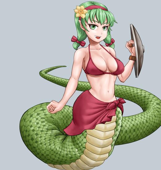ラミアのイラスト、蛇柄をつけたところ