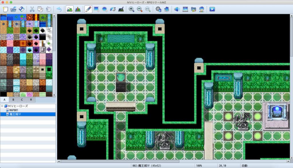 RPGツクールMZ、サンプルマップをロードした画面