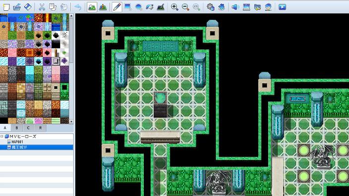 RPGツクールMZ、サンプルマップを開いた画面のサムネイル