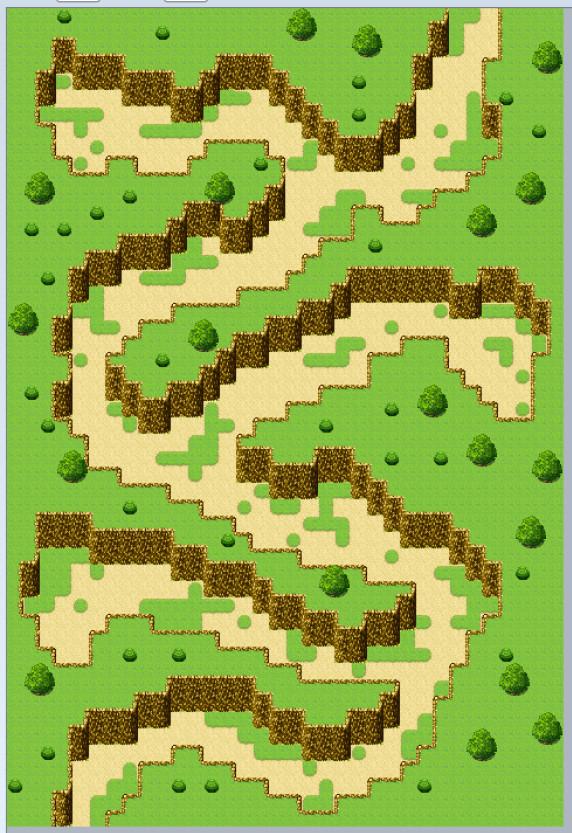 RPGツクールMZ、ダンジョン(渓谷)のマップ制作、木などを配置