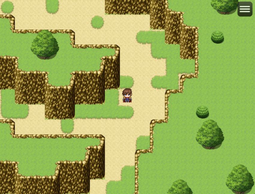 RPGツクールMZ、制作した渓谷のダンジョンをテストプレイ