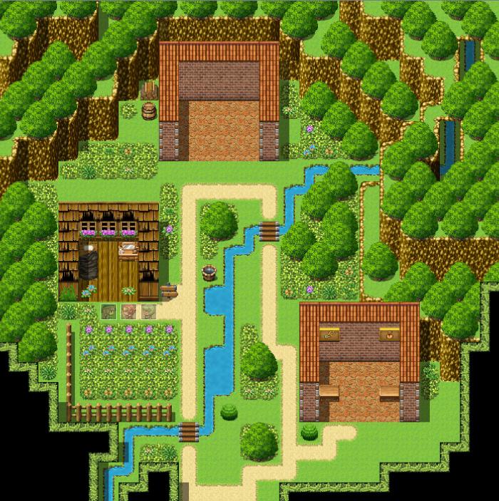 ツクールMZ、谷の村マップ