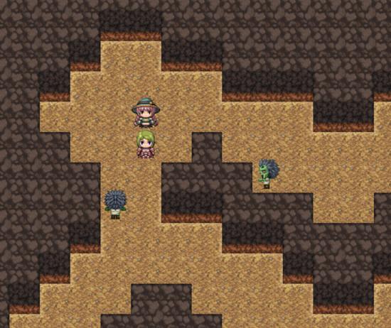 RPGツクール、洞窟を歩くテレーゼとマーシャ