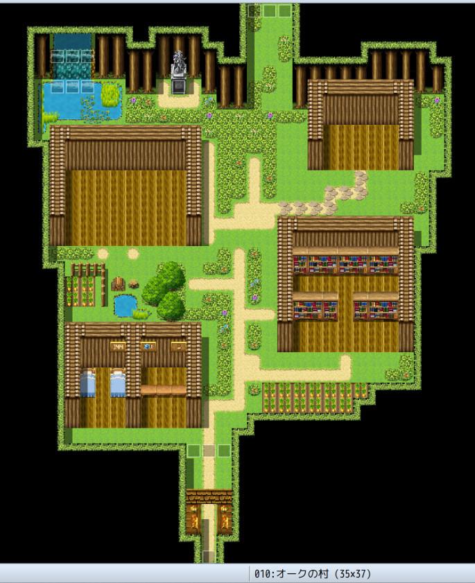 制作中RPG、オークの村のマップ
