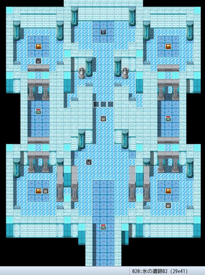 RPGツクールMZ、サンプルマップ「氷の洞窟」を改変