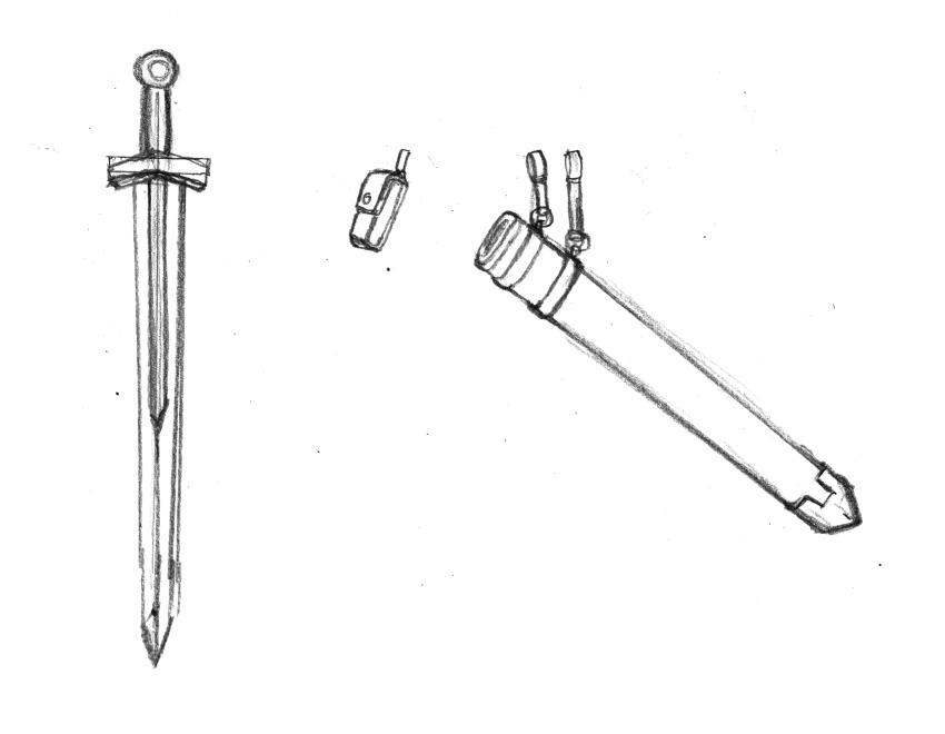 武器と鞘、ソードベルトの下絵