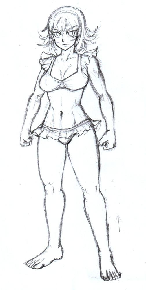 かわいい水着の女騎士キャロライン下絵