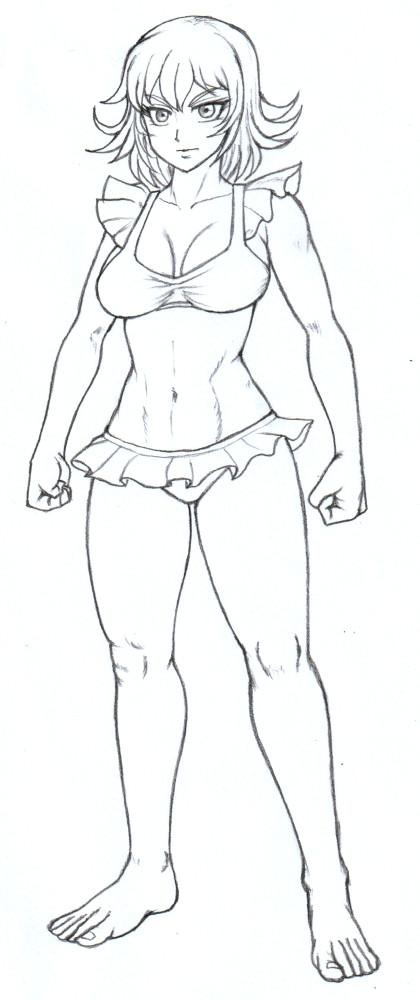 かわいい水着の女騎士キャロライン鉛筆線画