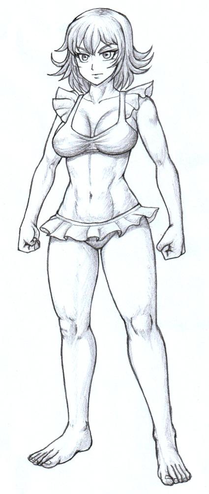 かわいい水着の女騎士キャロライン、モノクロイラスト