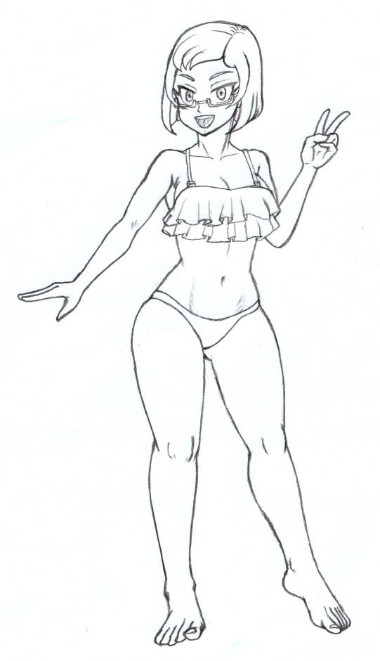 リオ、フレアビキニ鉛筆線画